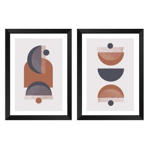Kit de 2 Quadros Decorativos Abstrat Terracota