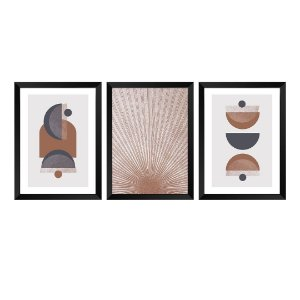 Kit de 3 Quadros Decorativos Abstrat Terracota
