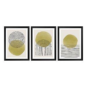 Kit de 3 Quadros Decorativos Topaz Abstrat
