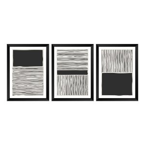 Kit de 3 Quadros Decorativos Black Beach