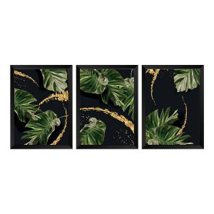 Kit de 3 Quadros Decorativos Art Nature