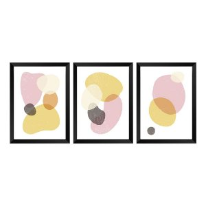 Kit de 3 Quadros Decorativos Pastel