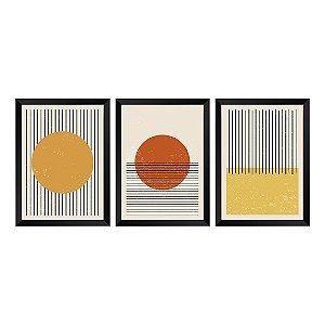 Kit de 3 Quadros Decorativos Solar