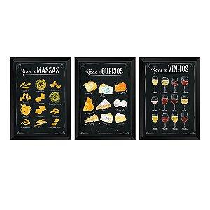 Kit de 3 Quadros Decorativos Tipos de Massas, Queijos e Vinhos