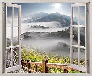 Adesivo Janela - Nuvens, montanha e árvore - 120x90cm