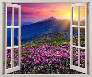 Adesivo Janela - Flores na montanha - 120x90cm