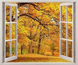 Adesivo Janela - Folhas de outono - 120x90cm