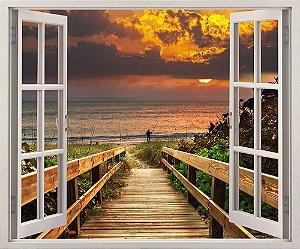 Deck e Praia ao nascer do sol - 120x90cm