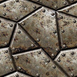 Papel de Parede Industrial Aço Mosaico
