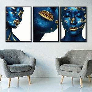 Kit de 3 Quadros Decorativos Mulher Azul e Dourado