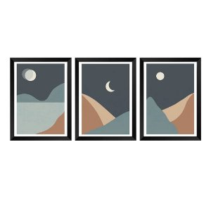 Kit de 3 Quadros Decorativos Abstrato Eclipse, Lua e Sol