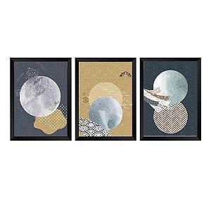 Kit de 3 Quadros Decorativos Abstrato Japase