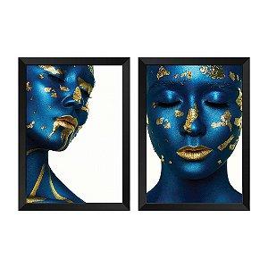 Kit de 2 Quadros Decorativos Mulher Azul e Dourado