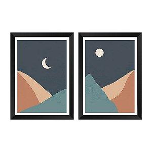Kit de 2 Quadros Decorativos Abstrato Lua e Sol
