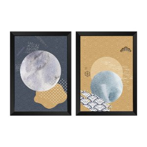 Kit de 2 Quadros Decorativos Abstrato Japase