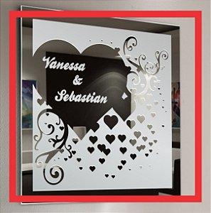 Adesivo Decorativo Jateado Fosco Para Espelho (casamento, noivado, batizado, bodas, formatura...)