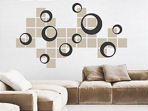 Adesivo Decorativo Quadriculado e Círculos 120x60