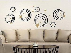 Adesivo Decorativo Círculos e Estrelas 140x75 7601