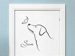 Adesivo Decorativo Cachorro com Nome e Borboleta 74x80 cm 1301