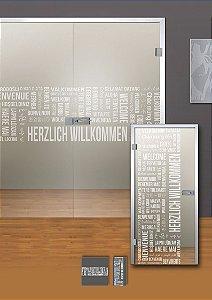 Adesivo jateado palavras - 210x065 cm saudação (serve para qualquer porta ou janela até 210cm de altura)