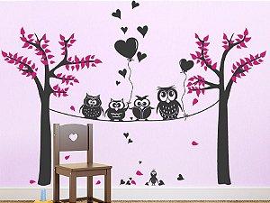 Adesivo de parede - Família Coruja