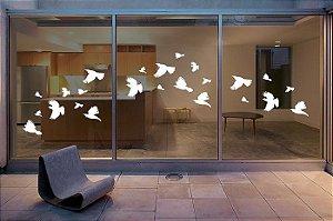 Adesivo Branco 12 Pássaros Anti trombada