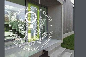 """Kit de Adesivos Branco """"Consulado EUA no BR"""" com 40, 70 e 80 cm de diâmetro"""