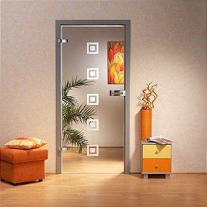 Adesivo decorativo jateado para portas - 1 Peça  com 0,20x0,20 cm