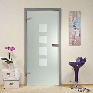Adesivo decorativo jateado para portas - Jateado com quadros   210x100 para portas de 50 a 100 cm de largura