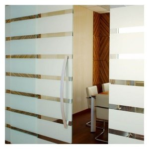 Adesivo jateado para vidros - faixas largas intercaladas 100x100cm