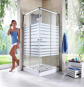 Adesivo Branco Faixas Para Box / Banheiros Altura 105 X Largura 65 cm