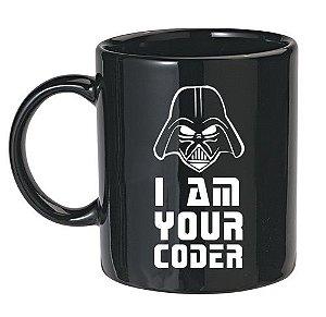 Caneca Preta I Am Your Coder