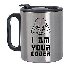 Caneca de Alumínio com Tampa para Viagem I Am Your Coder