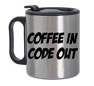Caneca de Alumínio com Tampa para Viagem Coffe In Code Out