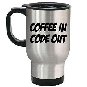 Caneca Térmica Prata Coffee In Code Out