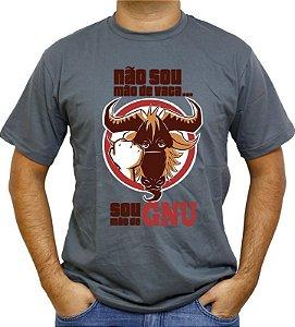 Camiseta Não sou mão de vaca, sou mão de GNU Cinza