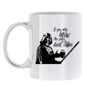 Caneca Prata Knew the Force of Dark Coffee
