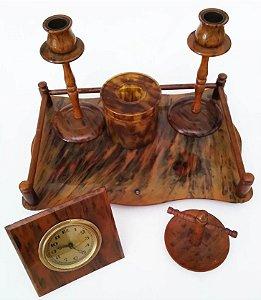 Antigo Conjunto de Toucador em Baquelite com Relógio