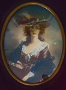 Antiga Pintura Miniatura, Retrato de Dama, Vidro Bombê