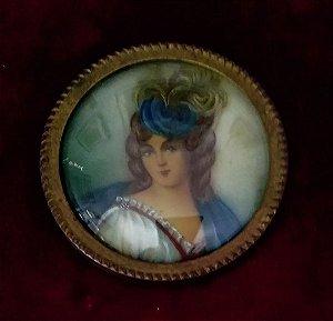 Antiga Pintura em Miniatura, Retrato de Dama, com Vidro Bombê