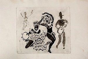Boris Arrivabene - Gravura Original, Monogramada, Cena de Carnaval