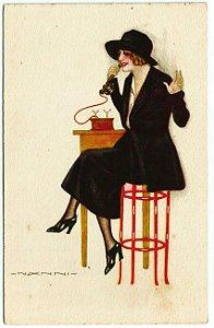 Cartão Postal Antigo Original Anos 1920 - Ilustrado pelo Artista Nanni, Art Déco, Mulher ao Telefone, - Não Circulado