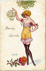 Cartão Postal Antigo Ilustrado pelo Artista Xavier Sager, Art Deco,  Mulher de Lingerie, Circulado em 1910