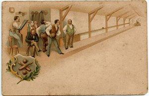 Cartão Postal Antigo Original , Ilustrado, Boliche, Não Circulado