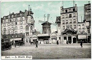 Cartão Postal Antigo Original, Paris, França - Moulin Rouge, Teatro e Cabaré, Burlesque, Vaudeville - Não Circulado