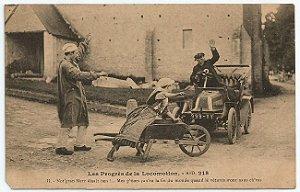 Cartão Postal Antigo Original, Paris, França - O Progresso da Locomoção, Carro Antigo - Não Circulado