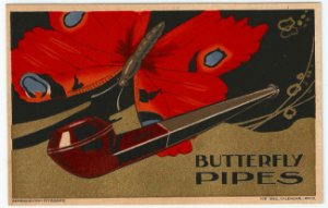 Cartão Postal Antigo Original, Publicidade de Tabacaria, Cachimbo Butterfly - Não Circulado