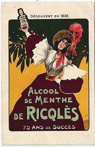 Cartão Postal Antigo Original, Publicidade Álcool de Menta, Licor, França.  Não Circulado