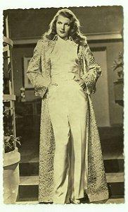 Cartão Postal Antigo Original, Fotografia da Atriz Rita Hayworth, Hollywood, Moda