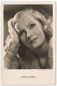 Cartão Postal Antigo Original, Fotografia da Atriz Greta Garbo , Hollywood, Moda